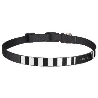 Dog Collar - Black & White Stripes - Name Optional Pet Collar