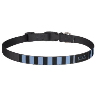 Dog Collar Blue & Black Stripes - Name & Phone