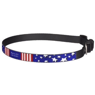 Dog Collar - Red White & Blue USA - Name & Phone