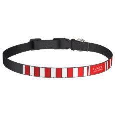 Dog Collar Red & White Stripes - Name & Phone