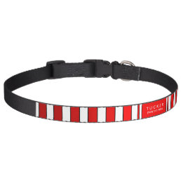 Dog Collar Red & White Stripes - Name & Phone