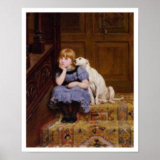 Dog Comforting Girl - Sympathy by R. Briton Print