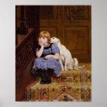 Dog Comforting Girl - Sympathy by R.Briton Print