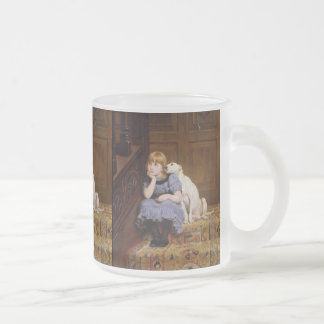 """Dog Comforting Girl - """"Sympathy"""" by Rivière Briton Frosted Glass Coffee Mug"""