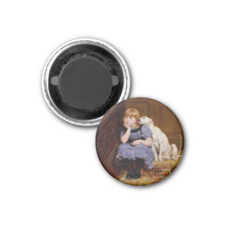 """Dog Comforting Girl - """"Sympathy"""" by Riviere Briton Magnets"""