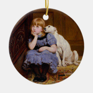 """Dog Comforting Girl - """"Sympathy"""" by Riviere Briton Christmas Tree Ornaments"""