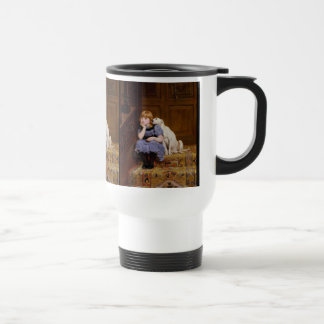 "Dog Comforting Girl - ""Sympathy"" by Rivière Briton Travel Mug"