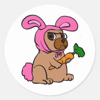 Dog costume rabbit classic round sticker