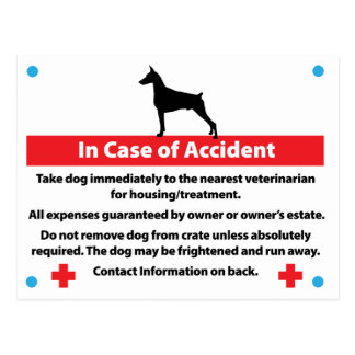 Dog Crate Card In Case of Emergency: Doberman Post Card