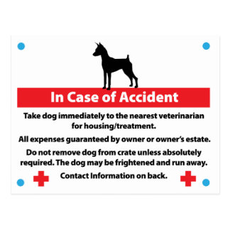 Dog Crate Card In Case of Emergency Post Cards
