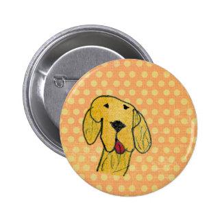 """Dog"" created by a child -Kids Art Design Pinback Button"