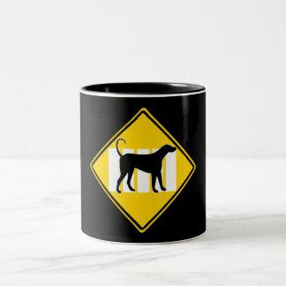 DOG CROSSING ROAD SIGN Two-Tone COFFEE MUG