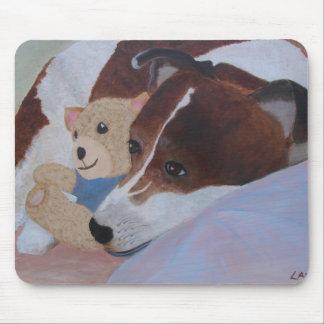 Dog Cuddling Teddy Bear Mousepad