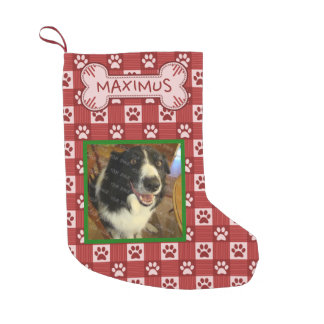 Dog Custom Photo Name | Red Paw Print Gingham Bone Small Christmas Stocking