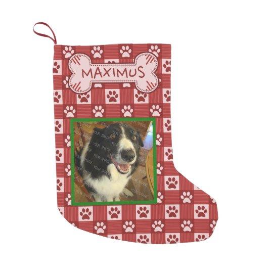 dog custom photo name red paw print gingham bone small christmas stocking