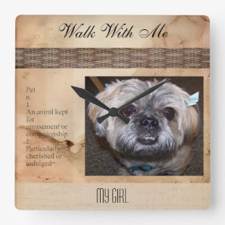 Dog Customizable Pet Photo Parchment Square Wall Clock