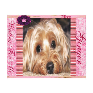 Dog Customizable Pet Photo Pink Damask Canvas Print