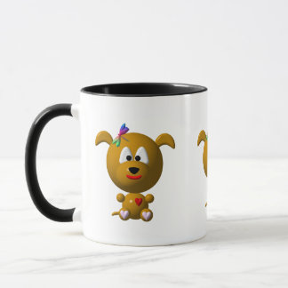 Dog: Cute dog with dragonfly! Mug
