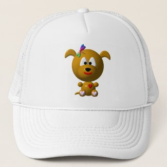 Dog: Cute dog with dragonfly! Trucker Hat