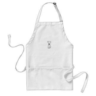 Dog - cute fun line drawing art logo design simple adult apron