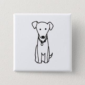 Dog - cute fun line drawing art logo design simple button