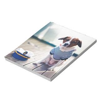 Dog Dailor Sitting Cap Clothes White  Nautical Memo Notepad