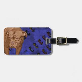 Dog de Bordeaux on Blue Urban Background Bag Tag
