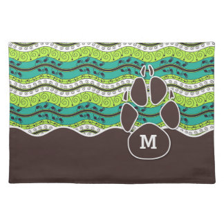 Dog Dinner Mat with Monogram and Paw Print