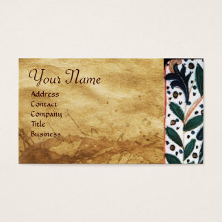 DOG DOCTOR WITH KITTEN Parchment Monogram Business Card