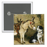 Dog & Donkey Animal Friends - Vintage Art by Emms Button