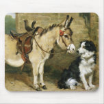 Dog & Donkey Animal Friends - Vintage Art by Emms Mouse Pad