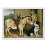 Dog & Donkey Animal Friends - Vintage Art by Emms Poster