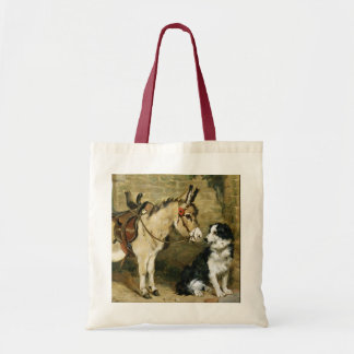 Dog & Donkey Animal Friends - Vintage Art by Emms Tote Bag