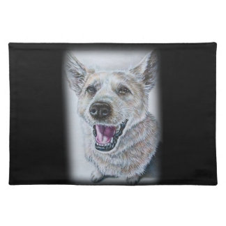 Dog Drawing Design of Sitting Happy Dog Cloth Placemat