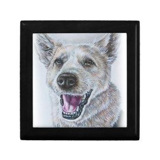 Dog Drawing Design of Sitting Happy Dog Jewelry Box