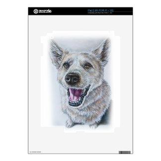 Dog Drawing Design of Sitting Happy Dog Skins For iPad 2