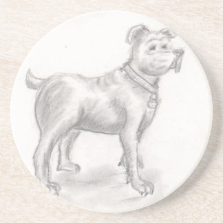 dog drawing eliana drink coaster