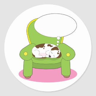 Dog Dreaming Classic Round Sticker
