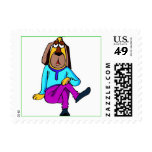 Dog Dressed in Blue and Purple Postage Stamp