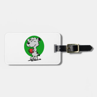 Dog drinking coffee bag tag