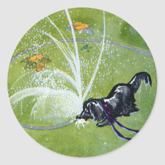 Dog Drinking from Garden Hose Classic Round Sticker