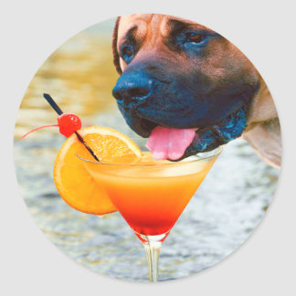 Dog Drinking Martini On The Beach Classic Round Sticker