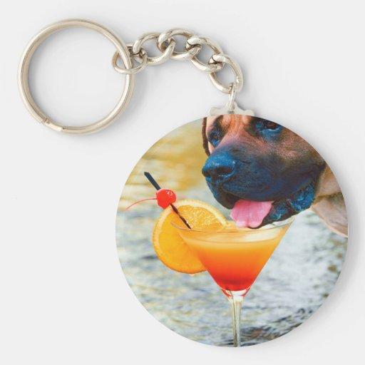 Dog Drinking Martini On The Beach Basic Round Button Keychain