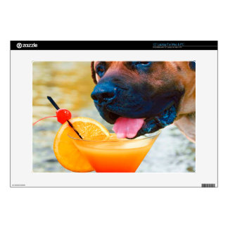 Dog Drinking Martini On The Beach Laptop Decals