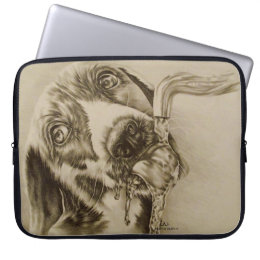 Dog Drinking on Laptop Sleeve 15""