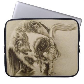 """Dog Drinking on Laptop Sleeve 15"""""""