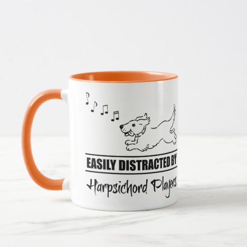 Running Cartoon Dog Easily Distracted by Harpsichord Players Music Notes Coffee Mug