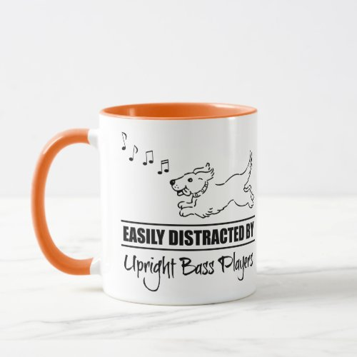 Running Cartoon Dog Easily Distracted by Upright Bass Players Music Notes Coffee Mug