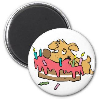 Dog eating birthday cake magnet