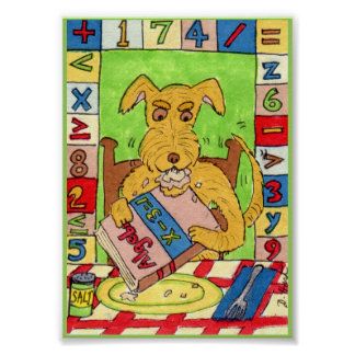 Dog Eating Math Homework Mini Folk Art Poster